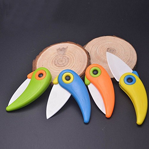 Mini Cute Bird Ceramic Fruit Knife, Pocket Ceramic Knife, Folding Knives, Kitchen Fruit Paring Knife With Colourful ABS Handle by Choopun Shop (Image #5)