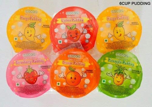 jai jinendra Coco Pudding Sampler Pack (Mango, Lychee, Orange, Strawberry, Passion Fruit) -6 Cups