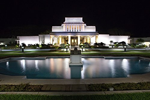 (Mormon Temple at night in Laie, Oahu,Hawaii print picture photo photograph fine art)