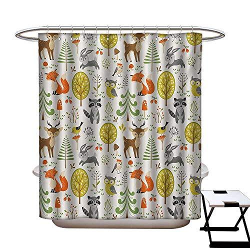 (Animals Shower Curtain Customized Woodland Forest Animals Trees Birds Owls Fox Bunny Deer Raccoon Mushroom Print Bathroom Accessories W72 x L84 Multicolor)