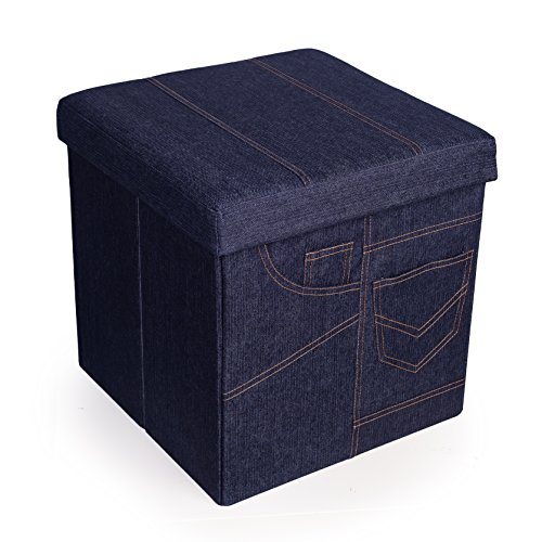 Danya B. Folding Storage Ottoman with Pockets – Denim