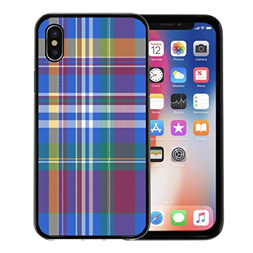 Madras Pink Panel - Semtomn Phone Case for Apple iPhone Xs case,Pink Abstract Blue Plaid Tartan Britain British Celtic Check Checkered for iPhone X Case,Rubber Border Protective Case,Black