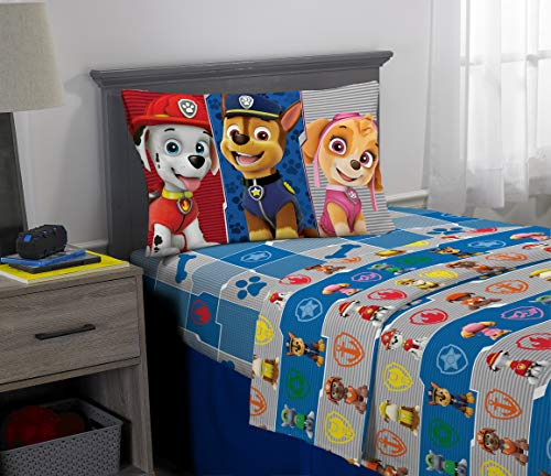 - Nickelodeon Paw Patrol Kids Bedding Super Soft Microfiber Sheet Set, 3 Piece Twin Size, Blue/Grey Design