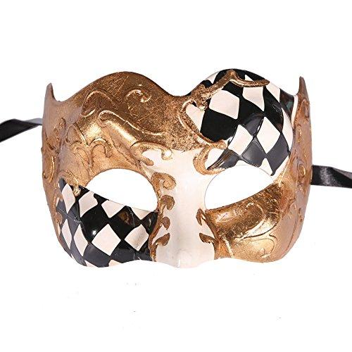 Black Harlequin Half Mask (Xvevina Harlequin Half face Jester Masquerade Mask Luxury Venetian Design (Harlequin black/gold))