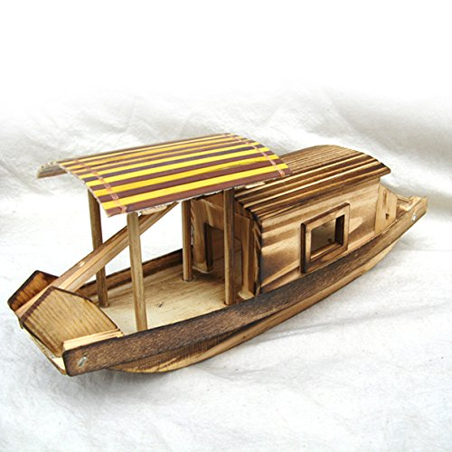 (Wooden Boat Model, Chinese Style Home Decor Handmade Fishing Ship Fully Assembled Pre-Built Model Ship Wooden Gift (Not a Kit) (Type 1))