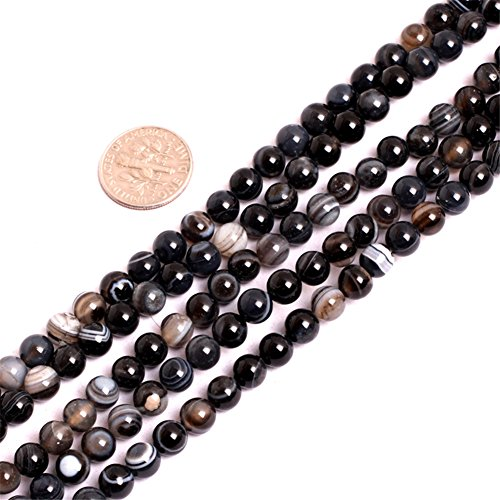 (Dzi Sardonyx Onyx Agate Beads for Jewelry Making Natural Gemstone Semi Precious 6mm Round Black 15
