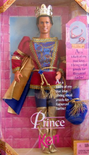 Barbie 1997 Classic Fairy Tale Rapunzel Series 12 Inch Doll : Prince Ken with Costume, Crown, Jewel Bag, Plastic Necklace and Bracelet