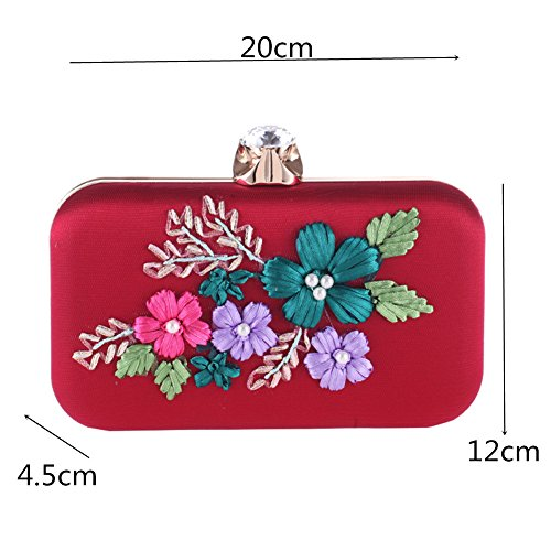 Party Out Wedding Flower Women Dress Clutch Red Handbag Shoulder Orfila Embroidery Chain Evening FnXSCq11W