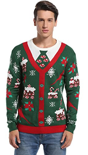 *daisysboutique* Men's Christmas Holiday Fake Cardigan Sweater Cute Elf Ugly Pullover (Large, Fake (Cute Christmas Elf)