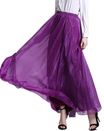 Minetom Jupe Femme t Bohme Style lgant Skirt Chic en Mousseline de Soie Plage Jupe Longue Maxi Robe 2 Styles D'usure Violet