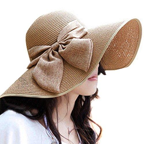 Fashion Straw Cap Womens Girls Flax Bow Wide Large Brim S...
