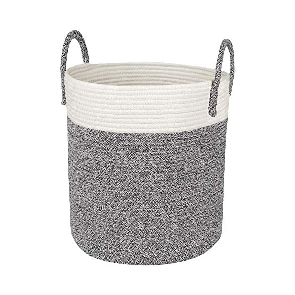 Medium Cotton Rope Basket – 13″x15″ Decorative Woven Basket for Laundry, Baby, Blanket, Towels, Home Storage Container (Grey)