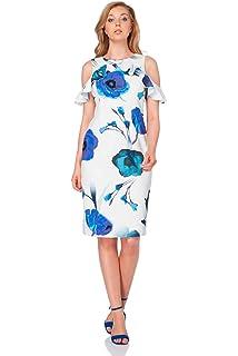 a126b5c9c9 Roman Originals Womens Floral Print Cold Shoulder Dress - Ladies Ruffles Wedding  Guests Occasion Outfit
