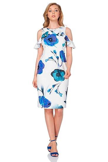 Roman Originals Womens Floral Print Cold Shoulder Dress Ladies