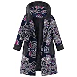 Cotton Hoodies Coats Long Sleeve Vintage Print Fleece Thicken Hasp Button Cardigan Jackets Long Outwear Oversize Ladysdress