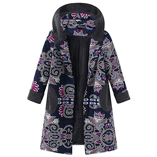 Youngh Womens Jacket Plus Size Printed Loose Hooded Fashion Vintage Winter Coat Overcoat ()