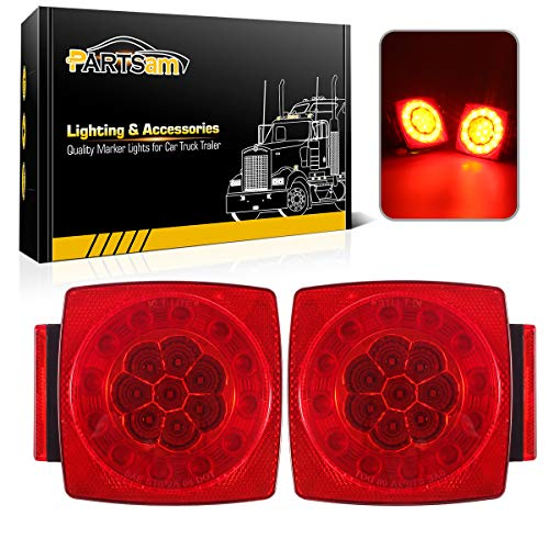 Partsam 12V LED Trailer Light Kit, Halo Glow Submersible Square Tail Lights Kit Left Right Turn Stop Signal for Under 80 Inch Boat Trailer RV Camper Marine Snowmobile (Led Boat Trailer Light kit)