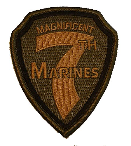 (MAGNIFICENT 7TH MARINES REGIMENT PATCH - Modified OD Green - Veteran Owned Business)