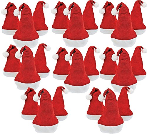 Bottles N Bags 24 Santa Hats for Holiday Office Parties and Festive Christmas Photos Pack of 24 Felt -