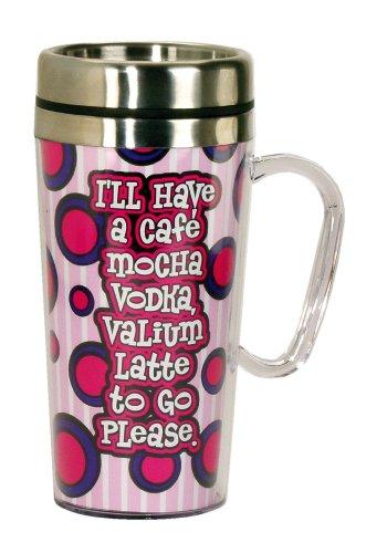 Spoontiques Cafe Mocha Vodka Insulated Travel Mug, Pink
