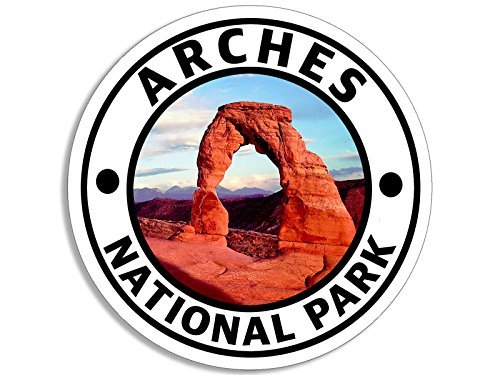 American Vinyl Round Arches National Park Sticker (Hike Travel rv Camp)