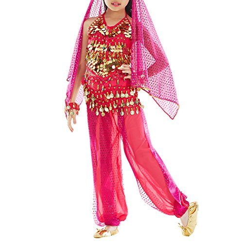 [TopTie Kid's Belly Dance Girl Halter Top, Harem Pants, Halloween Costumes Set ROSERED-L] (Cute Teenage Girl Halloween Costumes Ideas)