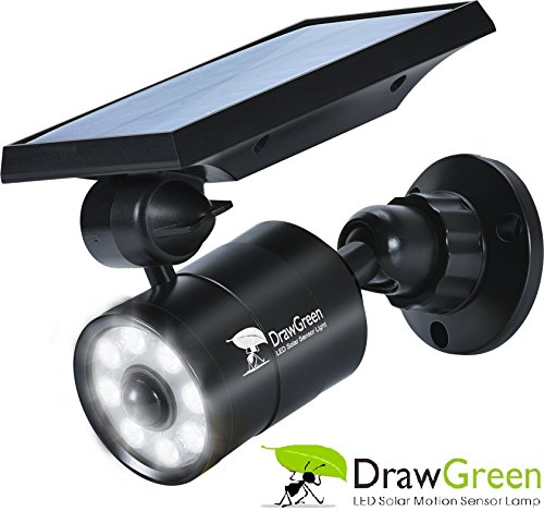DrawGreen Solar Lights,1400-Lumens Bright LED Spotlight 5W(110W Equiv.)Solar Motion Sensor Light Outdoor Wireless Security Lighting for Porch Patio Garden,Aluminum Solar Powered Lights
