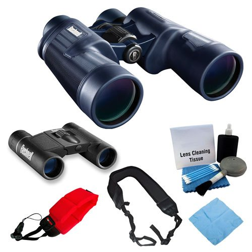 Bushnell H2O 8x42 and Powerview 8x21 Binoculars with Accessories Bundle