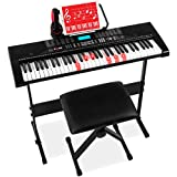 Best Choice Products 61-Key Beginners Complete Electronic Keyboard Piano Set w/Lighted Keys, LCD Screen, Headphones, Stand, Bench, Teaching Modes, Note Stickers, Built-In Speakers