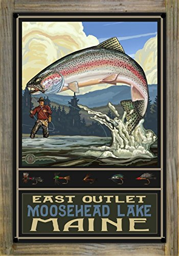 East Outlet Moosehead Lake Maine Rainbow Trout Fisherman Hills Metal Print on Reclaimed Barn Wood by Paul A. Lanquist (12