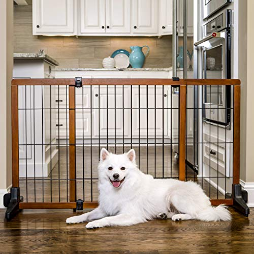 Carlson Extra Tall 70-Inch Wide Adjustable Freestanding Pet Gate, Premium Wood (2870 DS)