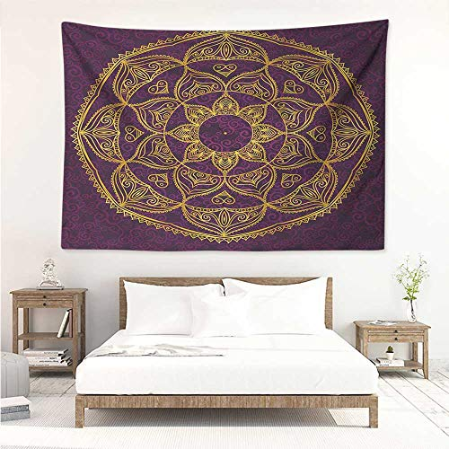 - alisos Mandala,Wall Decor Tapestry Circular Mandala Design Eastern Old Fashioned Nature Inspired Traditional 84W x 70L Inch Tapestry Wallpaper Home Decor Purple Earth Yellow