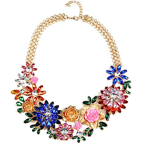 Opal Costume Jewelry (Girl Era Womens Acrylic 3D Crystal Flowers Big Heavy Costume Jewelry Charm Gold Necklace)