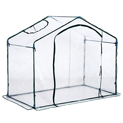 Outsunny 6′ x 3.5′ x 5′ Outdoor Portable Walk-in Greenhouse with Clear PVC Cover
