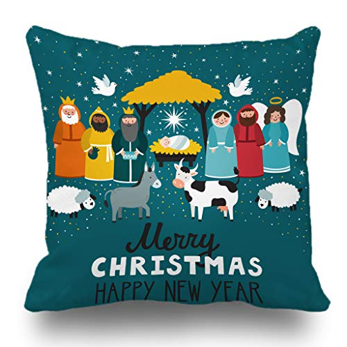 - Batmerry Merry Christmas Theme Decorative Pillow Covers 18 x 18 inch,Nativity Scene Decoration for Christmas Double Sided Throw Pillow Covers Sofa Cushion Cover Lumbar Pillowcase