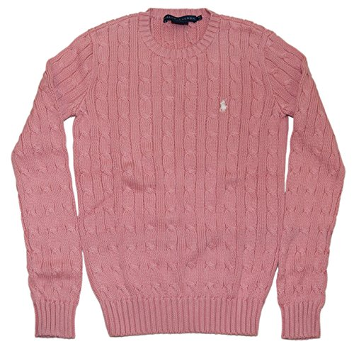 Ralph Lauren Polo Sport Womens Cable Knit Crewneck Cotton Sweater Pink Small