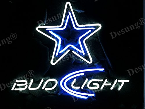 "Desung Brand New 20""x16"" Dallas Sports Teams Cowboy Bud-Light Neon Sign (Various sizes) Beer Bar Pub Man Cave Business Glass Neon Lamp Light DB119"
