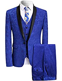 Men's Elegant Jacquard 3 Piece Suit Slim Fit Royal Blue Tuxedo
