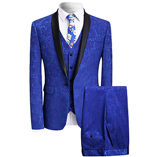 Men's Elegant Jacquard 3 Piece Suit Slim Fit Royal Blue Tuxedo,Medium,Blue