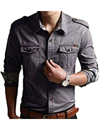 Men's Military style Cotton Casual Shirts Button Down Shirts
