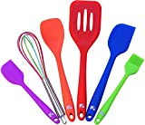 Red Hot Stop: Silicone Cooking Utensil Set 6 Piece │ Set Includes: Small Spatula, Large Spatula, Large Turner, Spoonula, Multi-Color Whisk, Brush