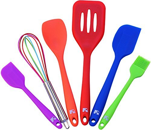 Red Hot Stop: Silicone Cooking Utensil Set 6 Piece │ Set Includes: Small Spatula, Large Spatula, Large Turner, Spoonula, Multi-Color Whisk, Brush by Red Hot Stop