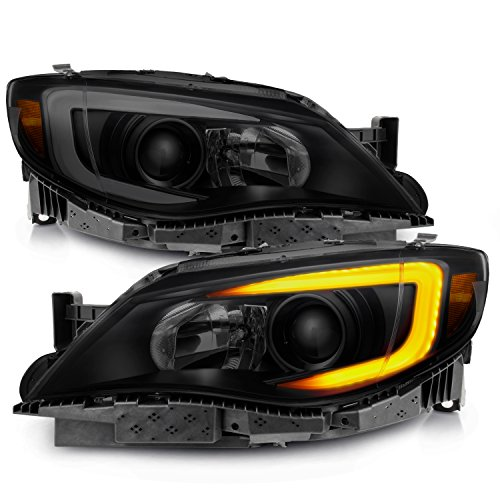 - [C-Style] [Black Smoked] For 08-14 Subaru Impreza WRX LED DRL Tube Switchback Projector Headlights