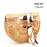 Bamboo Handbag Handmade Tote Bag Handle Straw Beach Bag for Women By Samuel (12.59'' x 3.93'' x 10.63'')