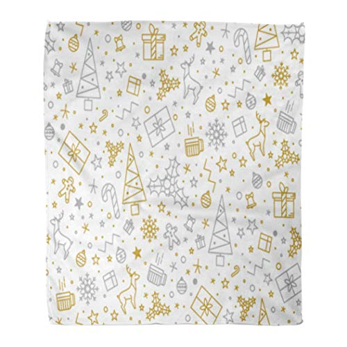 Golee Throw Blanket Yellow Tree for Christmas on Gold Beautiful Pattern Luxurious Line 50x60 Inches Warm Fuzzy Soft Blanket for Bed Sofa ()