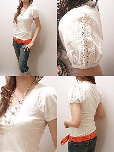 パフスリーブTシャツパフスリーブカットソー無地トップスホワイト白半袖カットソーTシャツL