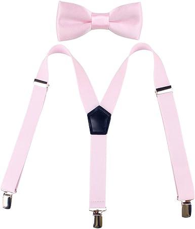 Children Suspenders Bow Tie 3 Clip Y Shape Set Solid Color Fashion Adjustable Suspender Set for Kids Girls Pink