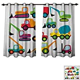PriceTextile Construction Bedroom Thermal Blackout Curtains Cute Style Vehicles and Heavy Equipment Forklift Earthmover Excavator Mixer Drapes for Living Room Multicolor Size W63 xL45