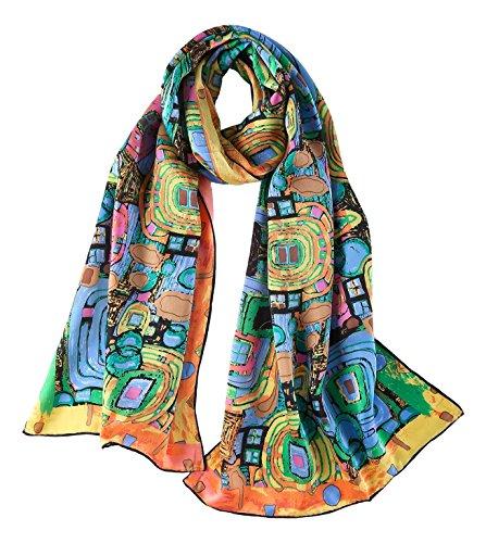 YangtzeStore Women's 100% Luxurious Long Silk Scarf Classic Art Collection