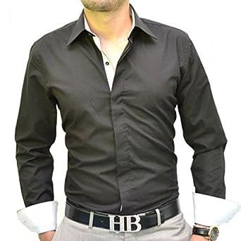 7fc9a779f2ebc8 Chemise homme noire et blanche slim fit: Amazon.fr: Vêtements et accessoires